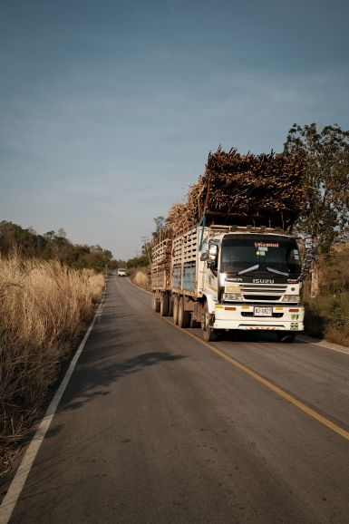 Sugar cane truck following the line